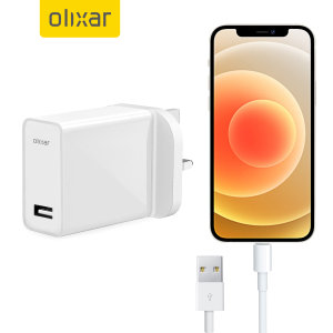 Olixar iPhone 12 5W USB-A Mains Charger & 1m Lightning Cable - White