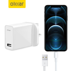 Charge your USB-A device quickly & conveniently with this High Power UK mains adapter in white. With a power output of 2.4 Amp it will fast charge your iPhone 12 Pro Max. Even better, this Olixar bundle includes a white, 1m Lightning to USB-A 3.0 cable.