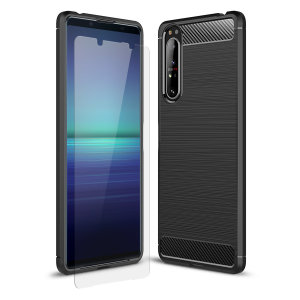 Flexible rugged casing with a premium matte finish, non-slip carbon fibre and brushed metal design. This Olixar Sentinel case in black keeps your Sony Xperia 5 II protected from 360 degrees with the added bonus of a tempered glass screen protector.