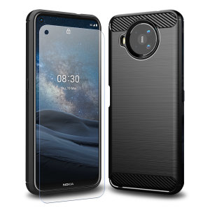 Flexible rugged casing with a premium matte finish non-slip carbon fibre and brushed metal design, the Olixar Sentinel case in black keeps your Nokia 8.3 5G protected from 360 degrees with the added bonus of a tempered glass screen protector.