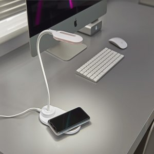 Auraglow Flexible Lamp With 10W Qi Wireless Fast Charger - White