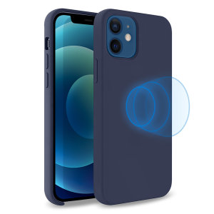 Custom moulded for the iPhone 12, this stunning, deep blue soft silicone case from Olixar contains a magnetic ring to allow for MagSafe accessories and chargers to snap on the back, as well as excellent protection against lifes little accidents.
