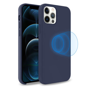 Custom moulded for the iPhone 12 Pro, this stunning, deep blue soft silicone case from Olixar contains a magnetic ring to allow for MagSafe accessories and chargers to snap on the back, as well as excellent protection against lifes little accidents.