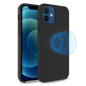 Custom moulded for the iPhone 12 mini, this stunning, black Soft Silicone Case from Olixar contains a magnetic ring to allow for MagSafe accessories and chargers to snap on the back, as well as excellent protection against lifes little accidents.