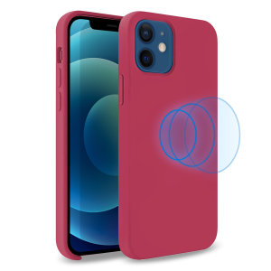 Custom moulded for the iPhone 12 mini, this stunning, Wine Red Soft Silicone Case from Olixar contains a magnetic ring to allow for MagSafe accessories and chargers to snap on the back, as well as excellent protection against lifes little accidents.