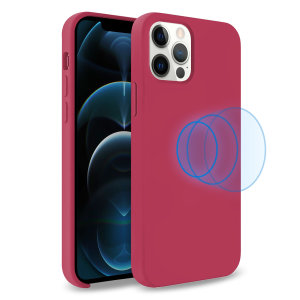 Custom moulded for the iPhone 12 Pro Max, this stunning, Wine Red Soft Silicone Case from Olixar contains a magnetic ring to allow for MagSafe accessories and chargers to snap on the back, as well as excellent protection against lifes little accidents.