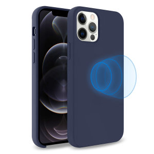 Custom moulded for the iPhone 12 Pro Max, this stunning, Navy Soft Silicone Case from Olixar contains a magnetic ring to allow for MagSafe accessories and chargers to snap on the back, as well as excellent protection against lifes little accidents.