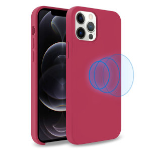 Custom moulded for the iPhone 12 Pro, this stunning, Wine Red Soft Silicone Case from Olixar contains a magnetic ring to allow for MagSafe accessories and chargers to snap on the back, as well as excellent protection against lifes little accidents.