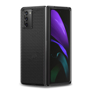 Flexible rugged casing with a premium matte finish non-slip carbon fibre and brushed metal design, the Olixar case in black keeps your Olixar Carbon Fibre Samsung Galaxy Z Fold 2 5G Black protected.