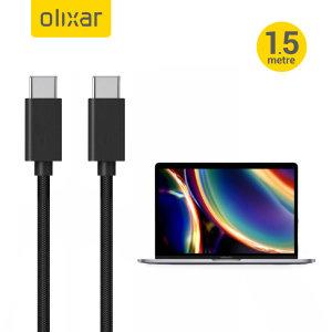 Olixar MacBook Pro 2020 100W Braided USB-C To C Charging Cable - Black