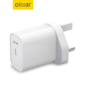 Olixar Power Delivery 20W Single USB-C Wall Charger - UK Plug - White