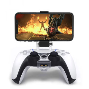 Mount your mobile phone on this Olixar PS5 mobile gaming controller. The Smart Clip fits most smart phones & is adjustable for the perfect viewing angle.The ergonomic design, easily lets you clip your Android or iOS phone for a better gaming experience.
