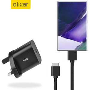 Charge your Note 20 Ultra quickly and safely with this Olixar Black 18W USB-C PD fast mains charger and 1.5m USB-C to C Cable. The compact and portable plug, alongside the braided cable allows you to enjoy fast-charging at home, in the office or on-the-go