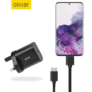 Charge your S20 Plus quickly and safely with this Olixar Black 18W USB-C PD fast mains charger and 1.5m USB-C to C Cable. The compact and portable plug, alongside the braided cable allows you to enjoy fast-charging at home, in the office or on-the-go.