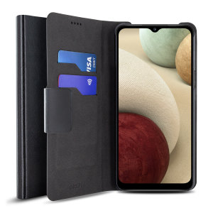 Protect your Samsung Galaxy A12 with this durable and stylish black leather-style wallet case by Olixar. What's more, this case transforms into a handy stand to view media.