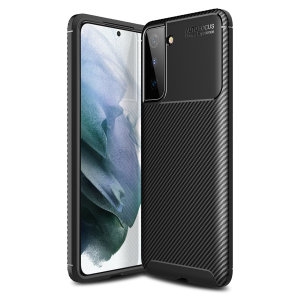 Flexible rugged casing with a premium matte finish non-slip carbon fibre and brushed metal design, the Olixar case in black keeps your Galaxy S21 Plus protected.