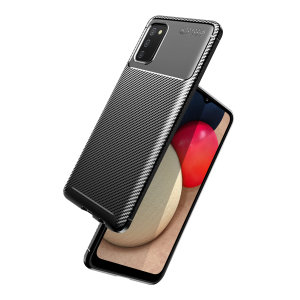 Flexible rugged casing with a premium matte finish non-slip carbon fibre and brushed metal design, the Olixar case in black keeps your Galaxy A02s protected.