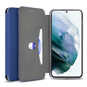 Custom moulded for the Samsung S21 Plus, this navy blue soft silicone flip case from Olixar provides excellent protection against damage as well as a slimline fit. Additionally, this case transforms into a stand to view media and includes a card slot.