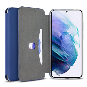 Custom moulded for the Samsung S21, this navy blue soft silicone flip case from Olixar provides excellent protection against damage as well as a slimline fit. Additionally, this case transforms into a stand to view media and includes a card slot.