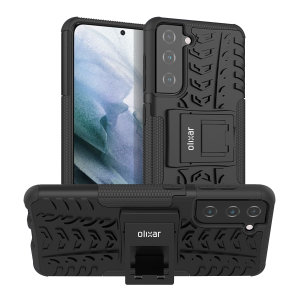 Protect your Samsung Galaxy S21 Plus from bumps and scrapes with this black ArmourDillo case from Olixar. Comprised of an inner TPU case and an outer impact-resistant exoskeleton, with a built-in viewing stand.