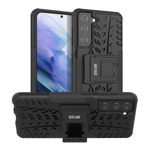 Protect your Samsung Galaxy S21 from bumps and scrapes with this black ArmourDillo case from Olixar. Comprised of an inner TPU case and an outer impact-resistant exoskeleton, with a built-in viewing stand.