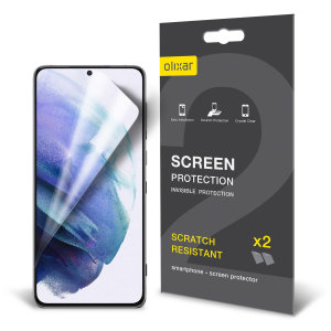 Keep your Samsung Galaxy S21 screen in pristine condition with this Olixar scratch-resistant, film screen protector 2-in-1 pack. Feel secure with Olixar.
