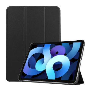 Protect your iPad Air 4 2020 with this durable and stylish and sleek black leather-style stand case by Olixar. This case not only protects your iPad, but also acts as a stand for video-watching or just general browsing.