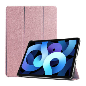 Protect your iPad Air 4 2020 with this durable and stylish rose gold leather-style stand case by Olixar. This case not only protects your iPad, but also has interior credit card slots and acts as a stand for video-watching or just general browsing.