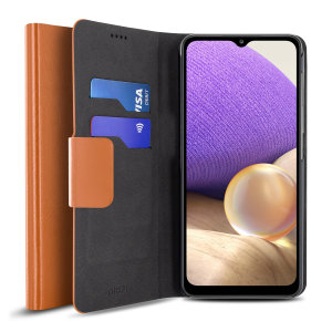 Olixar Leather-Style Samsung Galaxy A32 5G Wallet Stand Case - Brown
