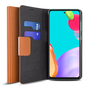 Olixar Leather-Style Samsung Galaxy A52 Wallet Stand Case - Brown