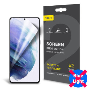 Keep your Samsung Galaxy S21 screen in pristine condition with this Olixar scratch-resistant screen protector 2-in-1 pack. The anti blue technology filters the harmful blue light and helps you to protect your vision and improves your sleep.