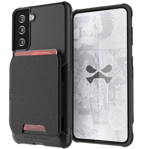 Ghostek Exec 4 Samsung Galaxy S21 Genuine Leather Wallet Case - Black