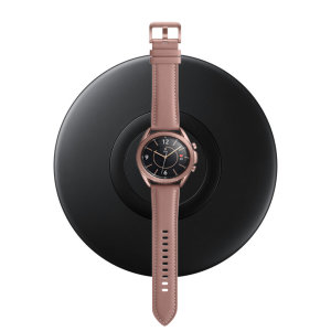 Wirelessly charge your Samsung Galaxy Watch 3 with Wireless Fast Charge technology using this official Samsung Qi Wireless Charging Pad in black.