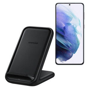 Wirelessly charge your Samsung Galaxy S21 smartphone with Wireless Fast Charge technology using this official Samsung Qi Wireless Charging Pad in black.