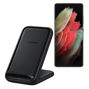 Wirelessly charge your Samsung Galaxy S21 Ultra smartphone with Wireless Fast Charge technology using this official Samsung Qi Wireless Charging Pad in black.