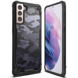 Keep your Samsung Galaxy S21 protected from bumps and drops with the Rearth Ringke Fusion X tough bumper in camo. Featuring a 2-part, Polycarbonate design, this case lives up to military drop test standards so you can feel safe, whilst also looking great.