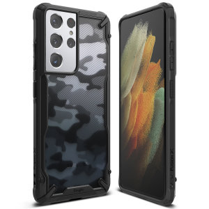 Keep your Samsung Galaxy S21 Ultra looking great with the Ringke Fusion X Design bumper case in Camo. Featuring a 2-part, Polycarbonate design, this case lives up to military drop test standards, protecting you from scrapes, bumps and drops.