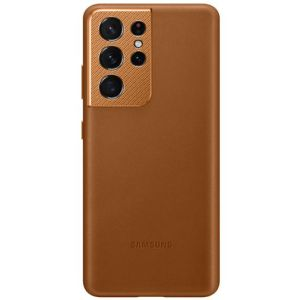 Official Samsung Galaxy S21 Ultra Genuine Leather Cover Case - Brown