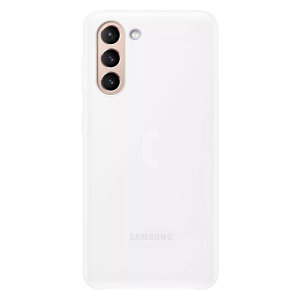Protect your Samsung Galaxy S21 Plus from drops & scratches with the intuitive LED back case from Samsung. This LED smart case in white allows you to receive notifications, set mood lights, have icon features & connect with friends all through the LED.