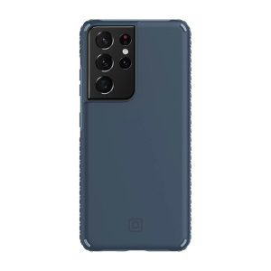 This stunning Midnight Blue, Incipio Grip case for the Samsung Galaxy S21 Ultra offers style and security.  It looks great, provides drop protection up to 14ft and features antimicrobial technology that prevents 99.9% of surface bacteria and germs.