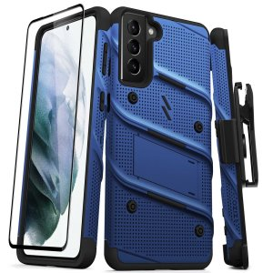 Equip your Samsung Galaxy S21 Plus with military grade protection and superb functionality with the ultra-rugged Bolt Case and Screen Protector in Blue from Zizo. Coming complete with a handy belt clip and integrated kickstand. Feel secure with Zizo.