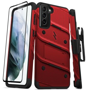 Equip your Samsung Galaxy S21 Plus with military grade protection and superb functionality with the ultra-rugged Bolt case and screen protector in red from Zizo. Coming complete with a handy belt clip and integrated kickstand. Feel secure with Zizo.