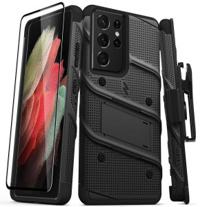 Equip your Samsung Galaxy S21 Ultra with military grade protection and superb functionality with the ultra-rugged Bolt case and screen protector in Black from Zizo. Coming complete with a handy belt clip and integrated kickstand. Feel secure with Zizo.