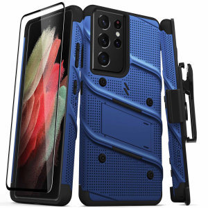Equip your Samsung Galaxy S21 Ultra with military grade protection and superb functionality with the ultra-rugged Bolt case and screen protector in Blue  from Zizo. Coming complete with a handy belt clip and integrated kickstand. Feel secure with Zizo.