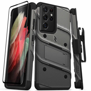 Equip your Samsung Galaxy S21 Ultra with military grade protection and superb functionality with the ultra-rugged Bolt case and screen protector in Grey from Zizo. Coming complete with a handy belt clip and integrated kickstand. Feel secure with Zizo.