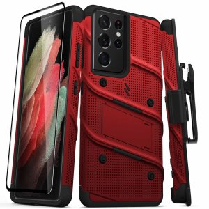 Zizo Bolt Samsung Galaxy S21 Ultra Tough Case & Screen Protector - Red
