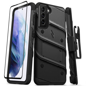 Equip your Samsung Galaxy S21 with military grade protection and superb functionality with the ultra-rugged Bolt case and screen protector in black from Zizo. Coming complete with a handy belt clip and integrated kickstand. Feel secure with Zizo.