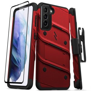 Equip your Samsung Galaxy S21 with military grade protection and superb functionality with the ultra-rugged Bolt case and screen protector in Red from Zizo. Coming complete with a handy belt clip and integrated kickstand. Feel secure with Zizo.