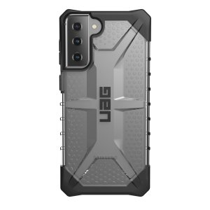 The Urban Armour Gear Plasma semi-transparent tough case in Ice for the Samsung Galaxy S21 Plus,  features a protective case with a brushed metal UAG logo insert for an amazing rugged and stylish design.