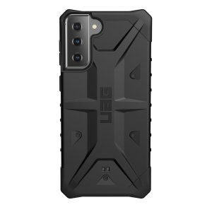 The sleek, Urban Armour Gear [UAG] Pathfinder black rugged case for the Samsung Galaxy S21 Plus features a classic tough-looking, composite design with a soft impact-absorbing core and hard exterior that provides superb protection in all situations.